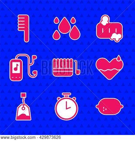 Set Sauna Bucket And Ladle, Stopwatch, Lemon, Heart Heal, Tea Bag, Music Player, Bar Of Soap With Fo