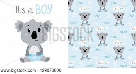 Hand Drawn Baby Boy Koala In Diapers. Childish Seamless Pattern With Koala Character. Vector Illustr