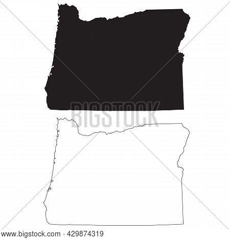 Oregon Black Map On White Background. Outline Map Of Oregon Sign. Flat Style.