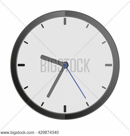 Simple Flat Clock Icon Vector Illustration, Timepiece Isolated On White Background