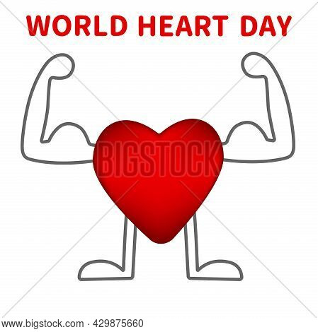 The Concept Of The World Heart Day. Vector Design Of A Strong Healthy Heart . Vector Illustration Fo
