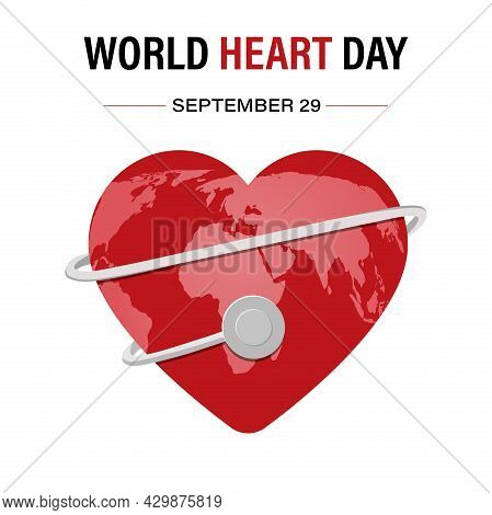 Vector Illustration Of The World Heart Day Background With The Image Of A Stethoscope, A Heart And A