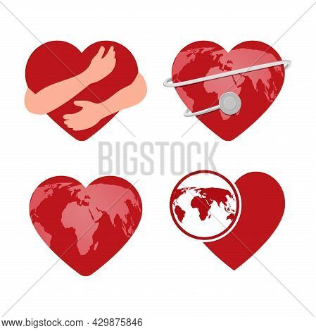 A Set Of Hearts For World Heart Day.. A Heart With Embracing Hands, A Heart With A Stethoscope, A He