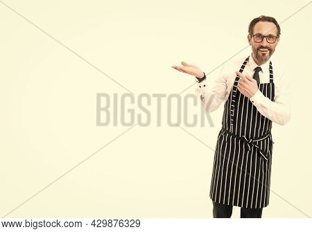Presenting Product. Your Advertisement Here. Cooking In Kitchen. Bearded Man Baker In Glasses. Confi