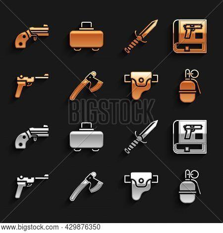 Set Wooden Axe, Book With Pistol Or Gun, Hand Grenade, Gun In Holster, Mauser, Military Knife, Small