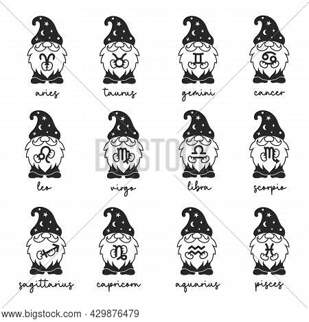 Vector Zodiac Symbols. Gnomes Holding Zodiac Sign In Hands.