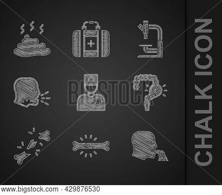 Set Male Doctor, Bone Pain, Vomiting Man, Gut Constipation, Human Broken Bone, Man Coughing, Microsc