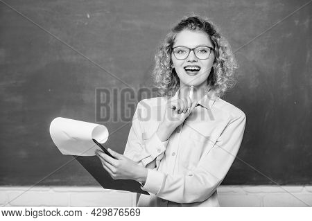 Really Busy. Report Project. Back To School. Teacher With Document Folder. Happy Student In Glasses