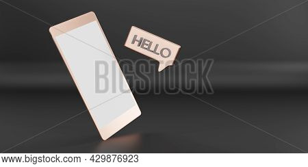 Message Hello In The Sat Inbox Communication Applications Via Phone 3d Illustration
