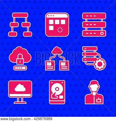 Set Cloud Technology Data Transfer, Hard Disk Drive Hdd, Analyst Engineer, Server And Gear, Computin