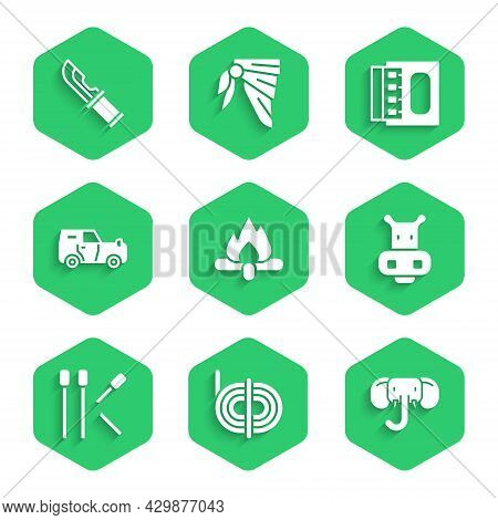Set Campfire, Climber Rope, Elephant, Hippo Or Hippopotamus, Matches, Off Road Car, Matchbox And Mat