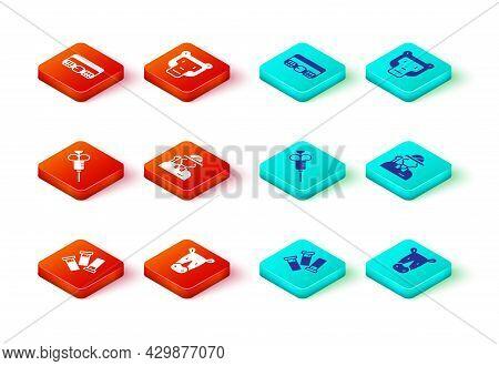 Set Cartridges, Rhinoceros, Syringe, Hunter, Monkey And Hunting Cartridge Belt Icon. Vector