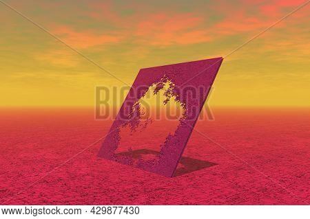 Picture Frame In Surreal Landscape 3d Rendering