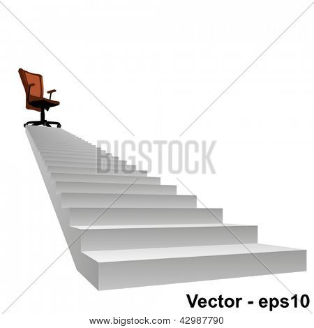Vector eps concept conceptual 3d stair climbing to a leader,chief or promotion chair on top isolated white background