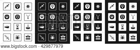 Set Sun, Life, Earth Element, Dagger, Necklace With Crystal, Venus, Poison In Bottle And Snake Icon.