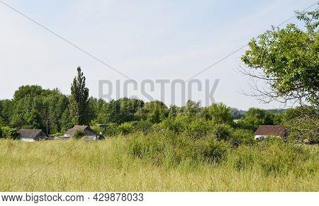 Beautiful Horizon Scenery In Village Meadow