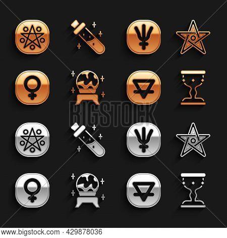 Set Magic Ball, Pentagram, Medieval Goblet, Earth Element, Venus, Neptune Planet, In Circle And Bott