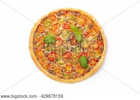 Italian Meat Pizza With Tomatoes, Three Types Of Meat (sausages, Bacon, Minced Meat), Mozzarella Che