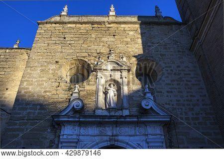 Parish Of Santiago Apostle Church Facade, Montilla, Spain. Gothic-mudejar Style. Sunset Shot