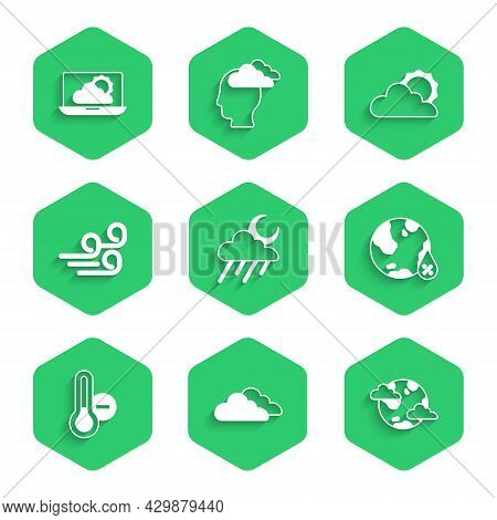 Set Cloud With Rain And Moon, Earth Planet Clouds, Water Drop Percentage, Meteorology Thermometer, W