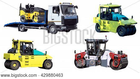 Road Rollers Of Various Designs For Soil Compaction Isolated On A White Background. Transportation O