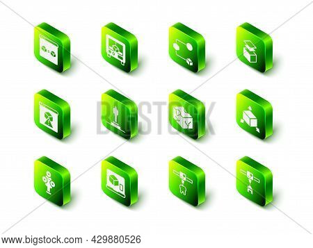 Set 3d Printer, Isometric Cube, Layers, House, Tooth And Icon. Vector