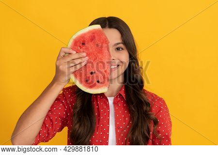 Yummy Juicy Watermelon. Kid With Fruit. Healthy Food For Children. Fructose Healthy Eating
