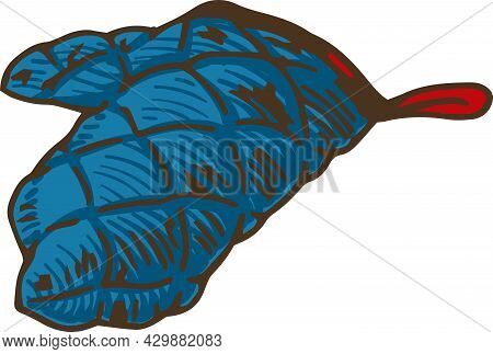 Blue Quilted Oven Mitt. Vector Illustration Isolated On White Background
