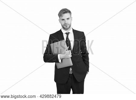 Freelance Worker In Formal Suit Hold Laptop Computer For Working Online, Freelancing