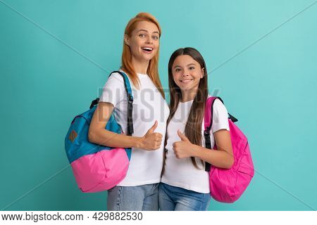 Cheerful Private Teacher And Child Holding School Bag, High School