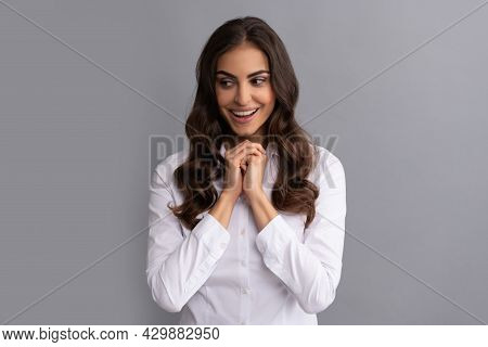 Happy Woman Lawyer Smile Making Decision Grey Background, Think