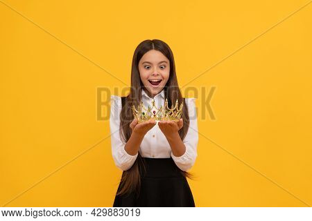 Amazed Schoolgirl In Crown. Self Confident Queen Kid. Expressing Smug. Arrogant Princess