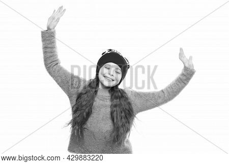 Happy Little Girl Loves Winter. Finally Winter Holidays. Enjoy Christmas Vacation. Good Mood In Any