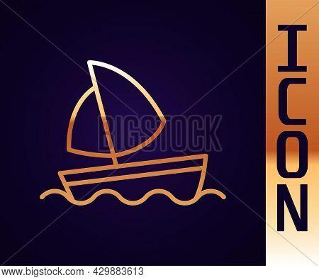 Gold Line Yacht Sailboat Or Sailing Ship Icon Isolated On Black Background. Sail Boat Marine Cruise