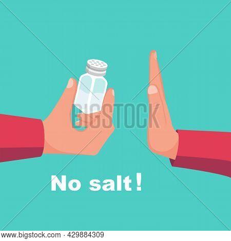 No Salt. Human Gesture Hand Refuses To Salty. Salt Free. Harmful Product. Healthy Lifestyle. Vector