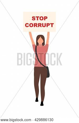 Girl With Stop Corrupt Poster Semi Flat Color Vector Character. Full Body Person On White. Anti-corr