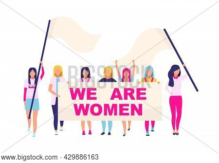 Supporting Women Movement Flat Concept Vector Illustration. Feminists Standing For Gender Equality I