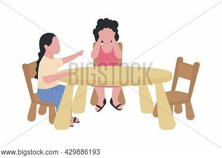 Preschoolers Quarrelling Semi Flat Color Vector Characters. Full Body People On White. Social Skills