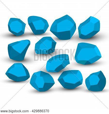 Cartoon Stones. Rock Stone Isometric Set. Blue Boulders, Natural Building Block Shapes, Wall Stones.