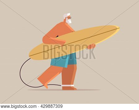 Senior Man With Surf Board Aged Male Surfer Holding Surfboard Summer Vacation Active Old Age Concept