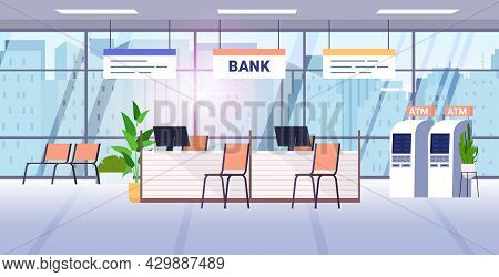 Bank Office Interior With Atm And Staff Desks Corporate Room Lobby With Furniture And Automated Tell