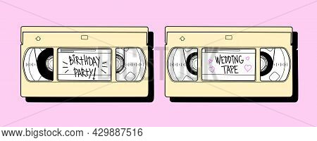 Set Of Two Vhs Cassettes With Notes. Vector Illustration