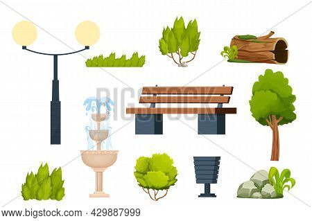 Set City Park Elements Bench, Bush And Tree, Trash, Lamppost, Old Log With Moss, Stone Pile And Foun