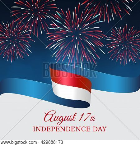 August 17, Independence Day Indonesia, Vector Template With Indonesian Flag And Fireworks On Blue Ni