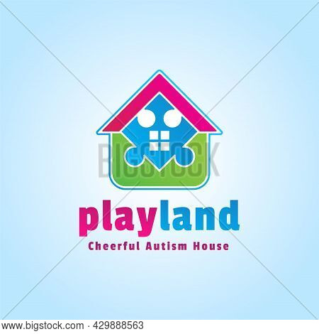 Playful Logo. Playland Vector Design. Colorful Home Of Puzzle. Cheerful Autism House