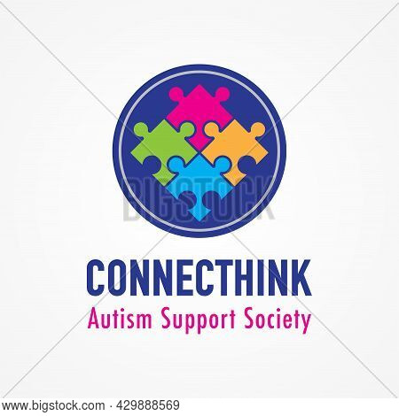 Connecthink, Connected Think. Colorful Connected Puzzle Logo Design For Autism Support Service