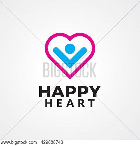 Happy People Inside A Heart Shape Vector Illustration For Health Care, Self Healing, Psychotherapy E