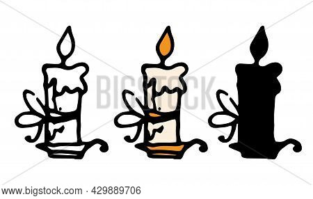 A Vector Candle Is Lit In A Candlestick. A Painted Set In The Doodle Style Is A Wax Candle With A Bo