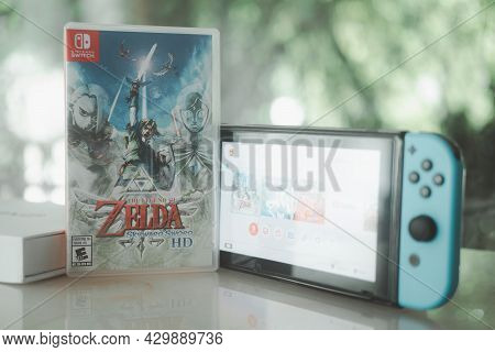 Samut Prakan, Thailand - August 15, 2021 : Nintendo Switch Gaming Console With The Legend Of Zelda:
