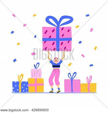 Woman Hold Huge Gift. Dancing On Party. Happy Girl With Colorful Confetti And Presents, Fun Festival